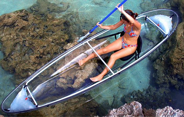 woman in bikini see through canoe The see through canoe