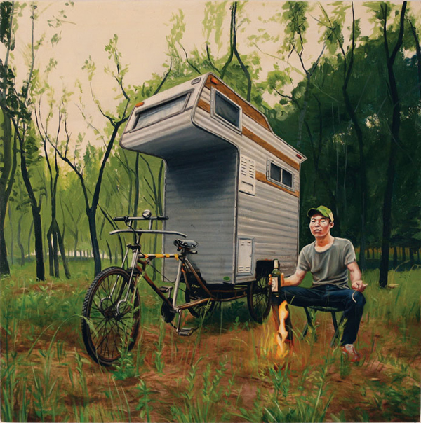 camper bike painting woods The Camper Bike