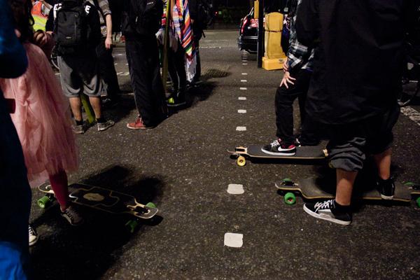 trav skaters about to start Critical Mass   Worldwide Social Biking Event