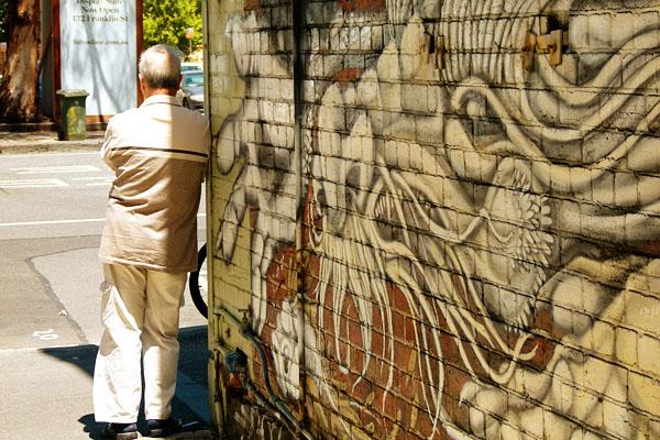 Melbourne Street Art Flinders St Corner Man Travelettes Woz Ere: Street Art in Melbourne