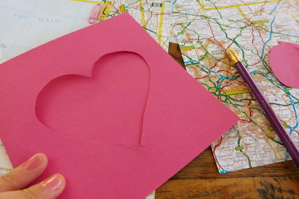DIY Map cards cut out heart shape DIY Sunday: Map gift cards and envelopes