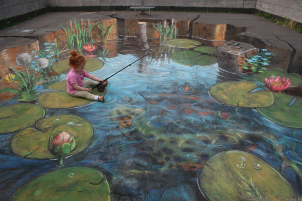 Fishing pond sidewalk Side chalk art around the world