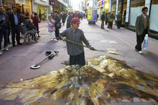 Julian Beever Sidewalk Art Side chalk art around the world