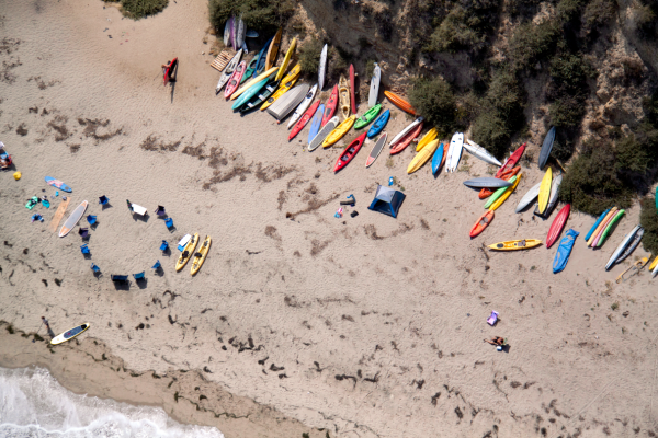 Malibu Beach Kayaks 600x400 Beach Life   Aerial Photography by Gray Malin