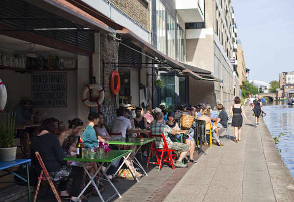 cafe by regent's canal in east london