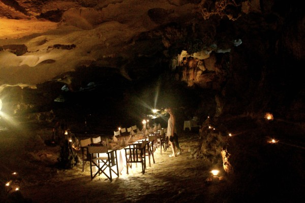 dinner in cave 600x400 A Travelettes Guide to Cruising Ha Long Bay