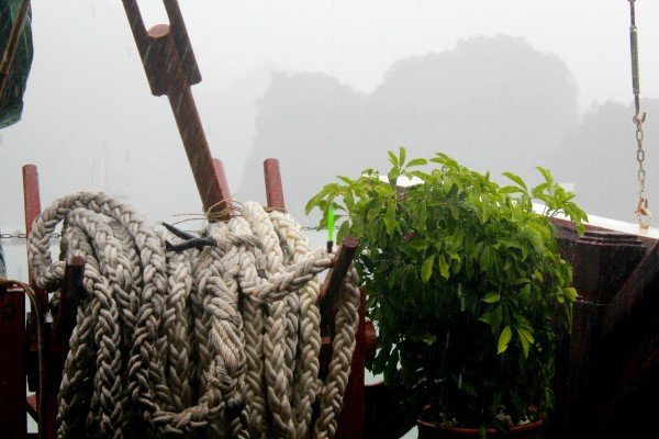 rainy deck 600x400 A Travelettes Guide to Cruising Ha Long Bay