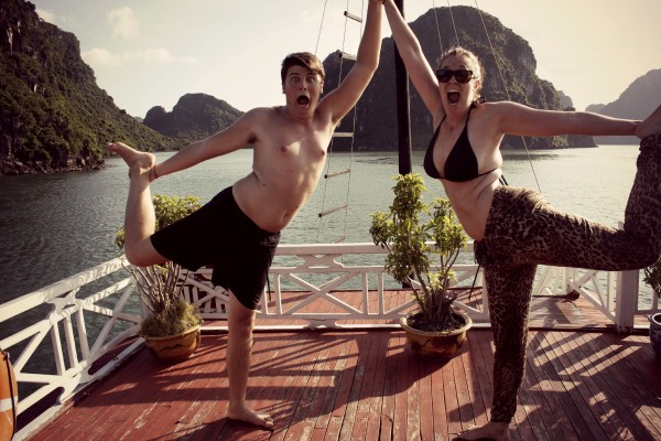 yoga on deck 600x400 A Travelettes Guide to Cruising Ha Long Bay
