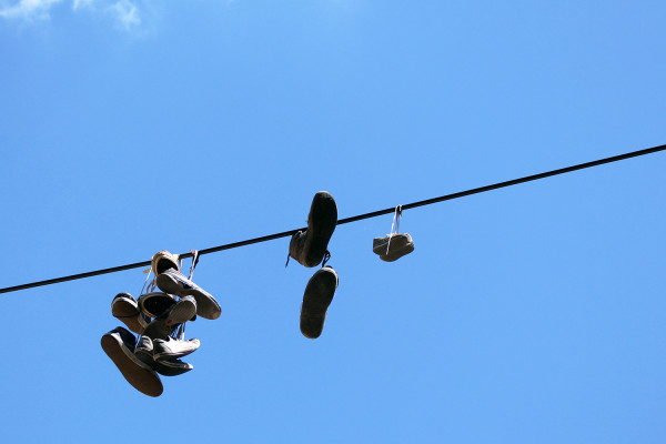 Shoes hanging over power cables in Ljubljana