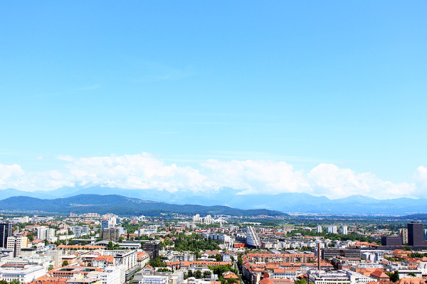 View of Ljubljana and Mountains from top of castle