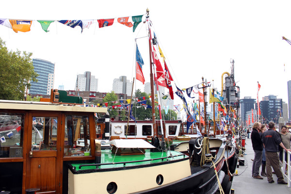 Boats lined up near Maritime Museum at World Port Days in Rotterdam