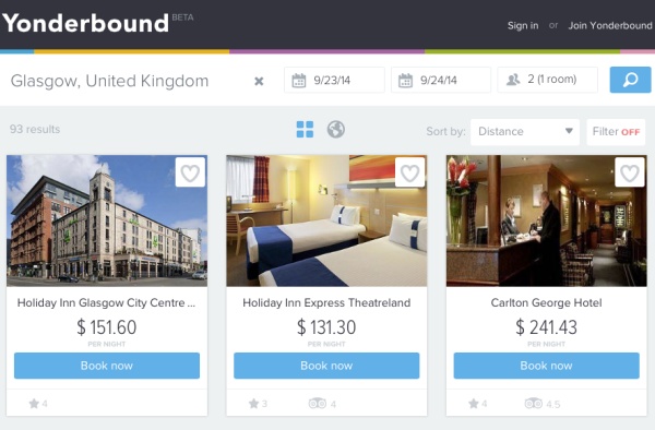 Yonderbound - Hotel Search Engine
