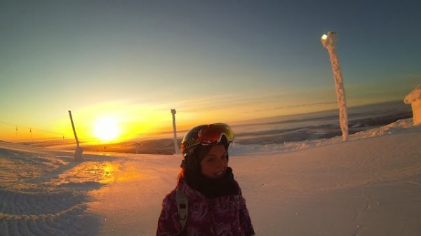Snowboarding in Levi in winter - Frances M Thompson