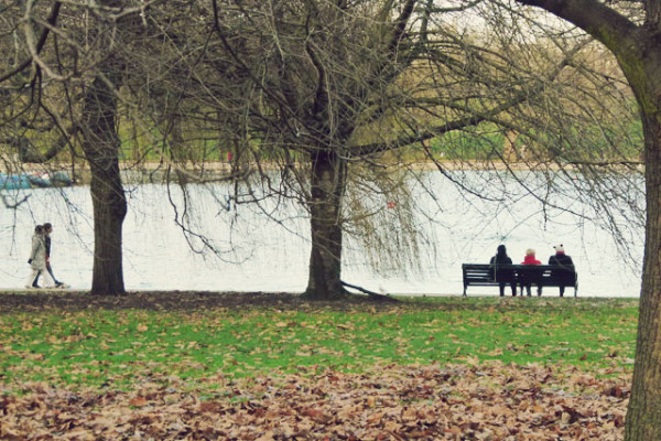 sitting on bench serpentine by Frances M Thompson