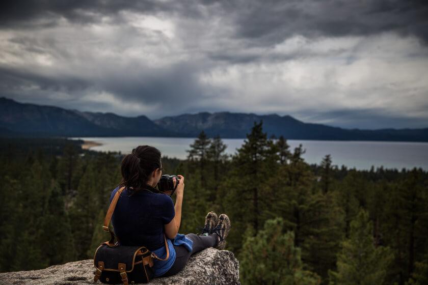 Hiking at the Van Sickle Bi-State Park in South Lake Tahoe, California, September 30, 2015.