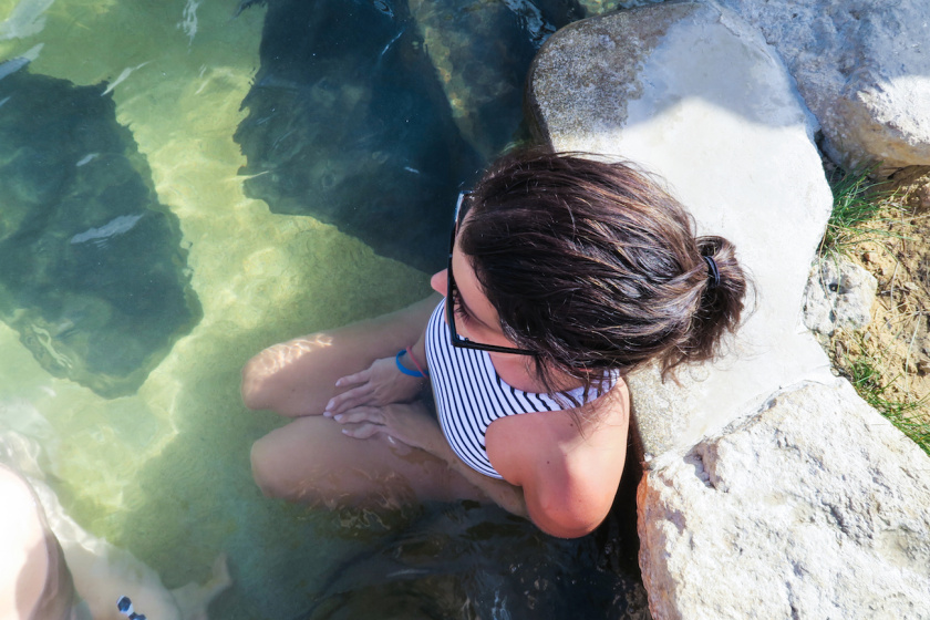 soaking up mineral waters in hot springs