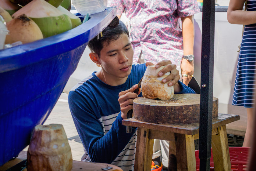 Coconut Carving Inside Thailand Street Food