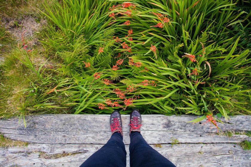 Wearing waterproof hiking boots in Scotland.
