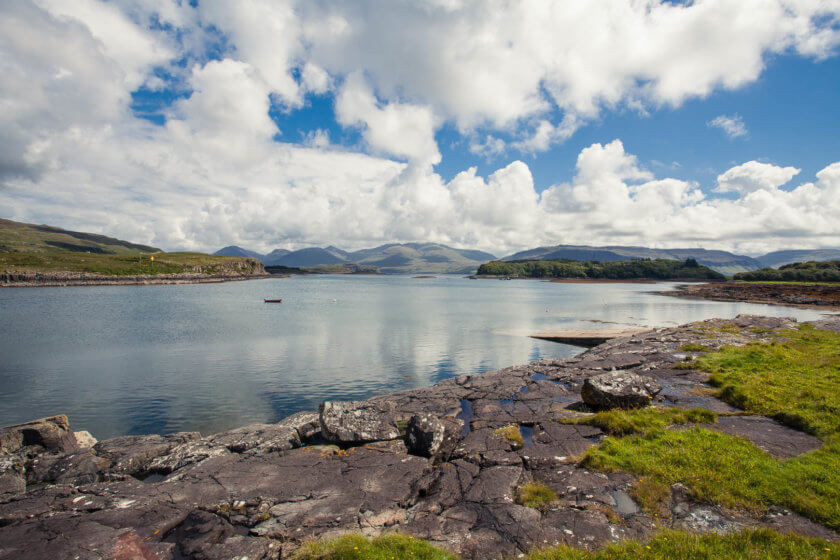 The views of Mull from the Isle of Ulva in Scotland.