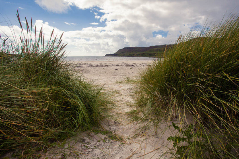 The white sand of Calgary Bay on the Isle of Mull in Scotland.