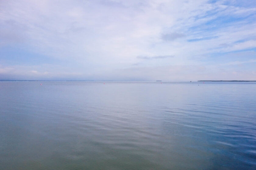 The endless surface of Lake Neusiedl in Austria.