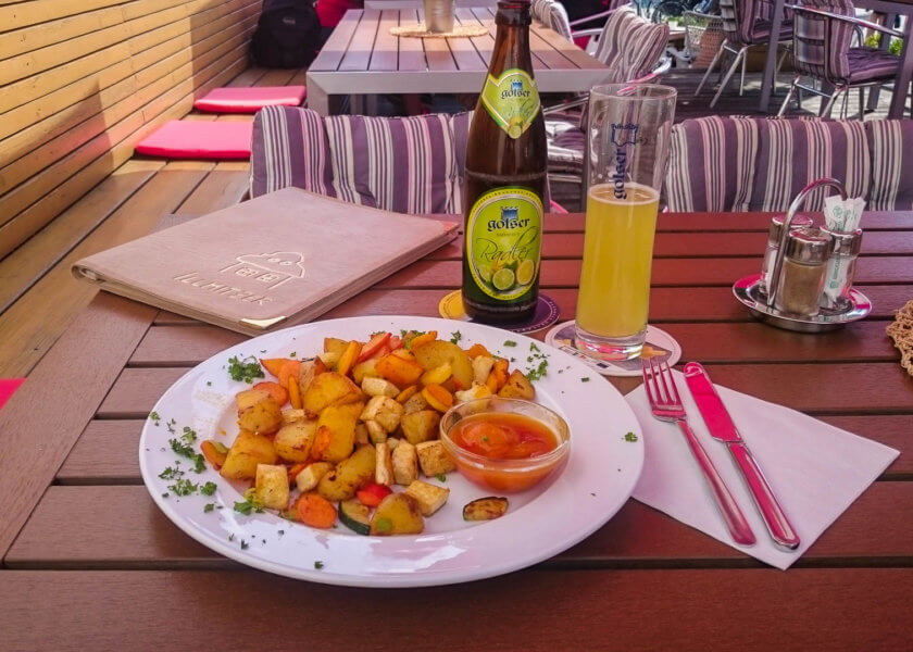 Vegan dinner at Illmitzer restaurant in Austria.
