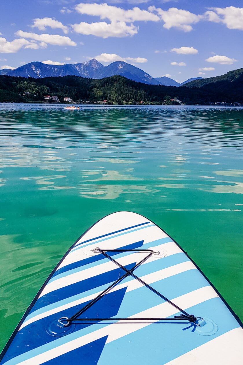 Stand up paddling on a lake in Austria