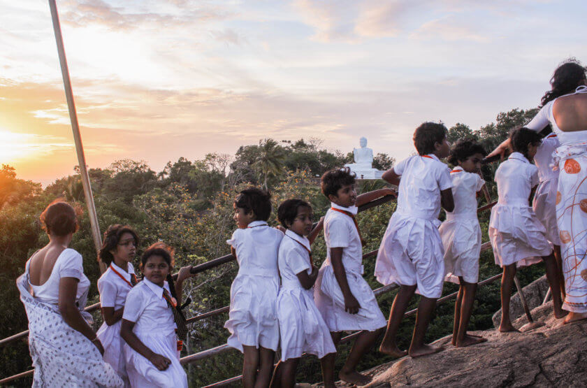 Kids in Sri Lanka during sunset