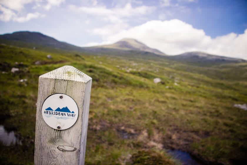 A waymarker post on the Hebridean Way.