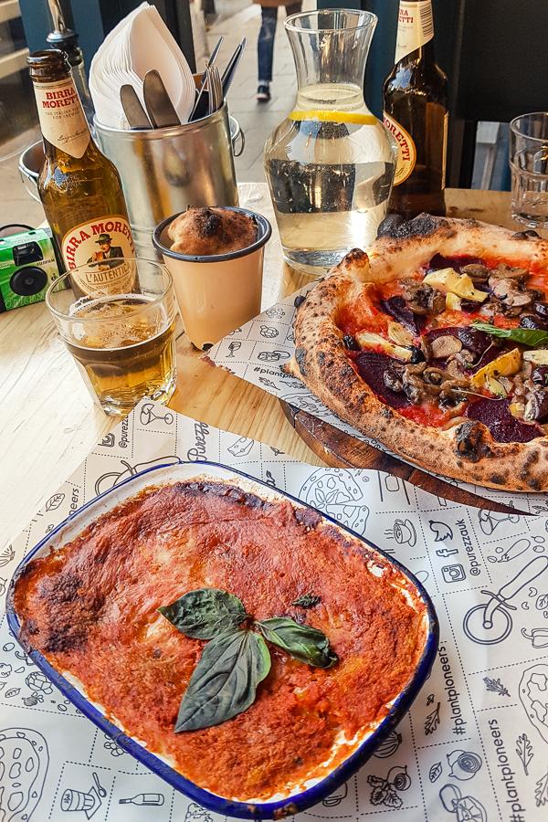 vegan pizza and lasagne at purezza in brighton