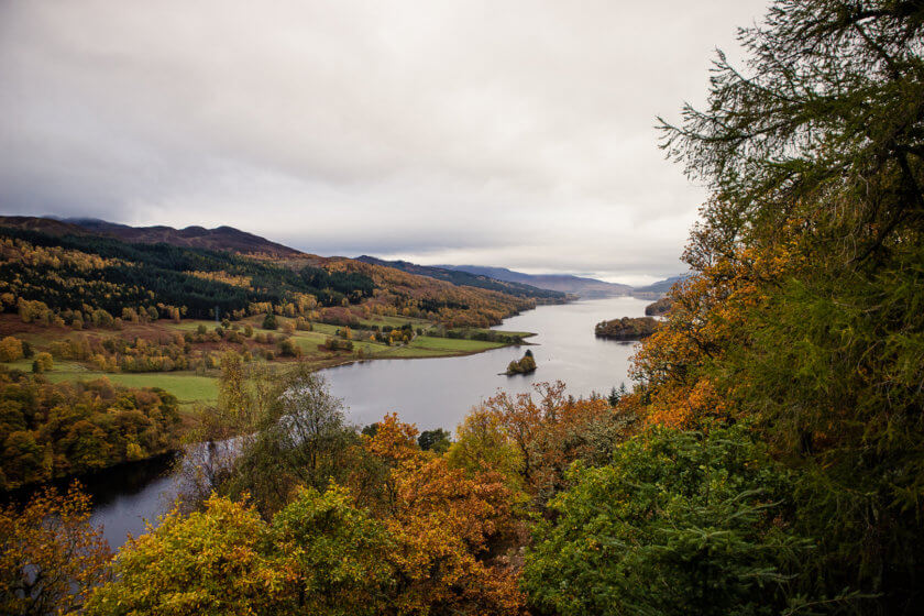 Queen's view vantage point in Perthshire.