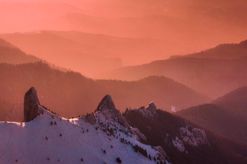 sunrise over romanian mountains