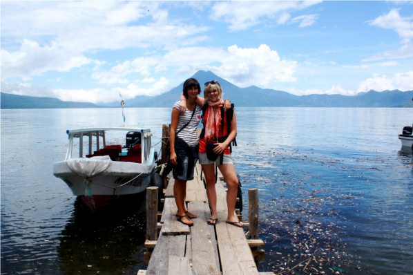 My friend Julie and I at Lago Atitlán