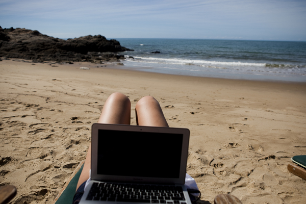 laptop at the beach