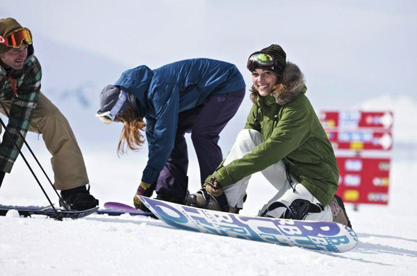 beginner snowboarding in laax