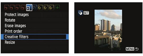 camera command creative filters