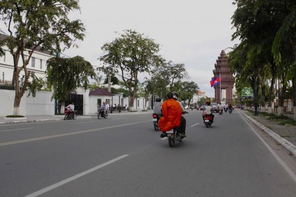monk on motorbike
