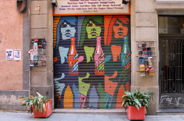 Street art and graffiti on Barcelona's shutter doors