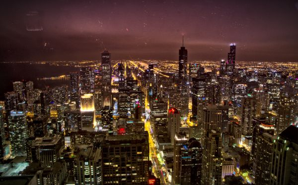 Cool Things to do in Chicago in Winter - Emily Perkinson - At night from John Hancock Observatory