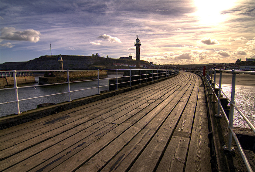Whitby harbour - vintage seaside town
