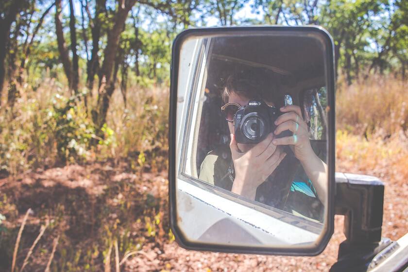 Budget Safari - Kafue National Park - Kathi Kamleitner - Mirror Selfie