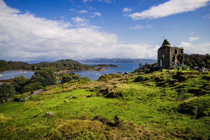 The view from Tarbert Castle in Argyll in Scotland