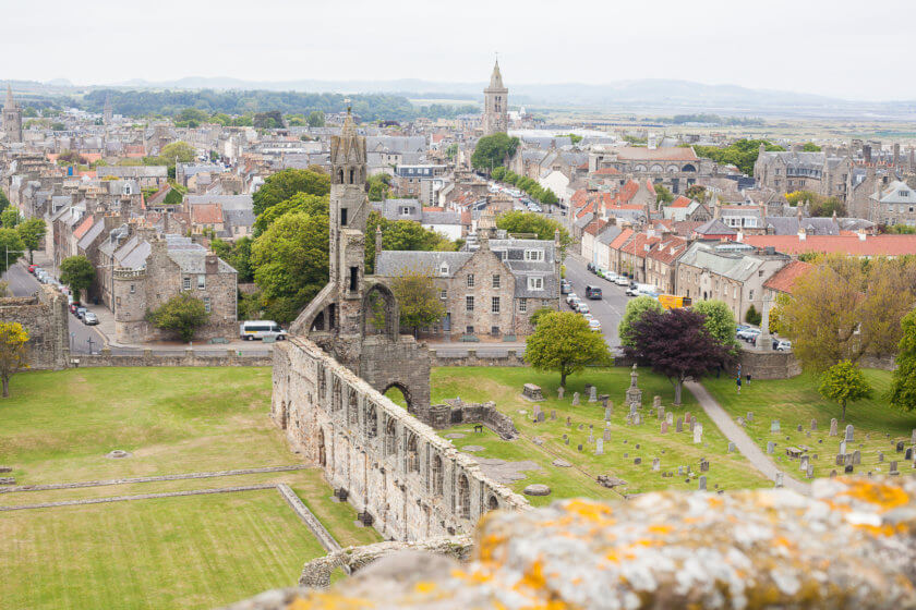 The ruins of St Andrews Cathedral in Scotland