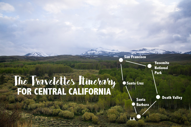 Travelettes Itinerary Central California Road copy
