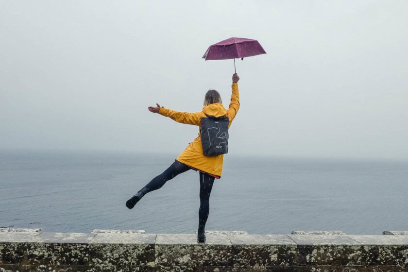 Embracing the rain at Culzean Castle in Scotland.