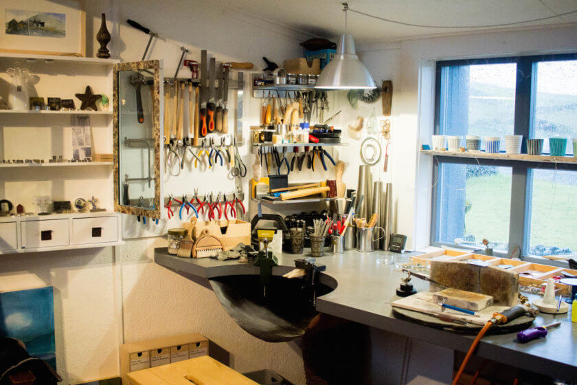 A jewellery making workshop in Shetland.