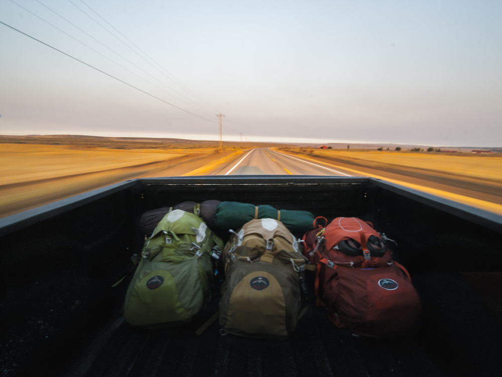 Backpacking on back of truck