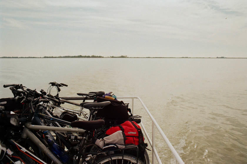 Taking the bike ferry across Lake Neusiedl from Illmitz to Morbisch.