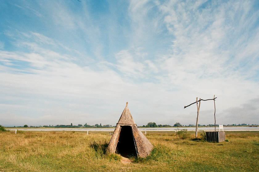 Traditional reed shelters at Lake Neusiedl in Austria.