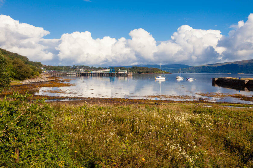 The bay of Craignure on the Isle of Mull, where the ferry from Oban arrives several times a day.